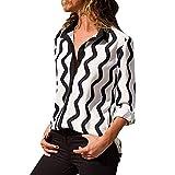 Epig Damen Bluse, Frauen Casual Gestreifte Lange Ärmel Umlegekragen Button Front Shirt Tops Bluse