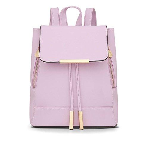 LaoZan Donne Casuale Elegante Solido Colore Preppy Stile Zaini Pink Chiaro Viola Chiaro