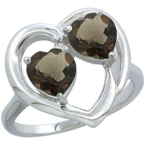 Revoni-Catenina in oro bianco 9 carati, topazio fumé &-Anello con diamante, a forma di cuore, 6 mm, 2 pezzi - Topaz 10 Pezzo