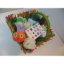 Babysfirstnight Caterpillar - Cesta de regalo unisex para bebé, diseño de recién nacido, regalo de Pascua