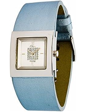 Moog Paris - Harmony Damen Uhr mit Silber Zifferblatt, Swarovski Elements & Blau Armband aus Echtem Leder - Hergestellt...