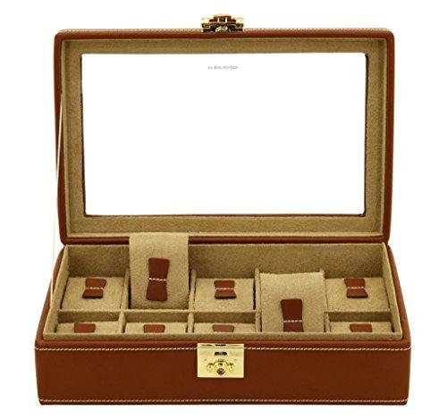 Friedrich scatola portaorologi con vetrina in vera pelle per 10 orologi marrone