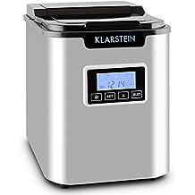 Klarstein ICE6 Icemeister Macchina per il ghiaccio (3 diverse dimensioni di cubetti, 12Kg/24h, acciaio, 150W, 2,2l, silenzioso, display LCD) - acciaio