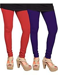CAY 100% Cotton Combo of Red and Purple Color Plain, Stylish & Most Comfortable Leggings For Girls & Women with Full Length (SIZE : Free Size)