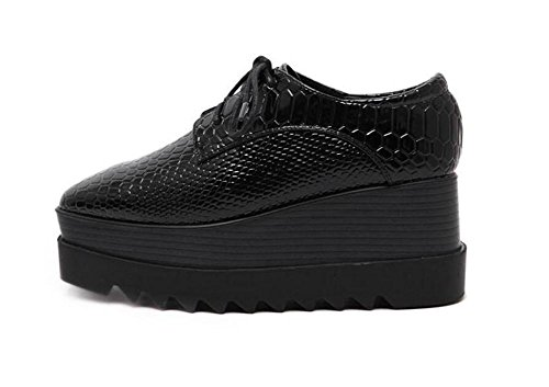 LDMB Das quadratische Zeheschlange-Muster der Frauen beschuht flache dünne untere Kursteilnehmer-einzelne Schuhe Black gH3Gt