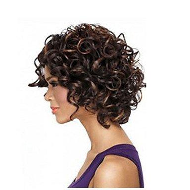 Heart&M cheveux afro courte perruque frisée crépue africain fibre de perruques américain de couleur brun foncé