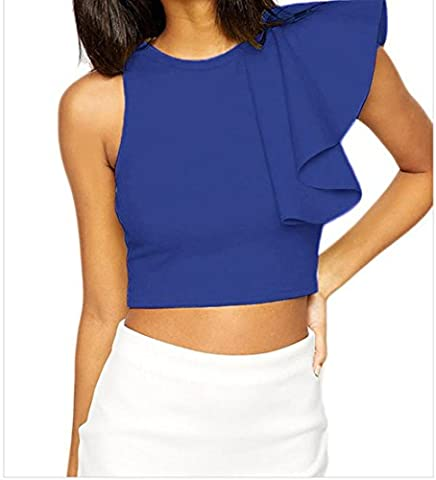 Bling-Bling Womens Blue One-shoulder Ruffle Crop Top Size S