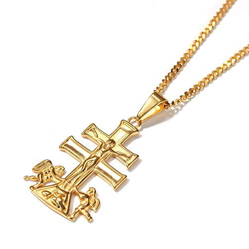MCSAYS Hip Hop Edelstahl Kreuz Jesus Engel Anhänger Mode Herren Halskette Schmuck (Verkauf Kostüm Engel)