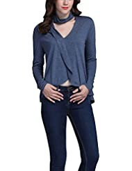 Mena UK Mujer V-cuello manga larga de la vendimia irregular Smil cuello colgando elegante T-shirts ( Color : Azul , Tamaño : S )