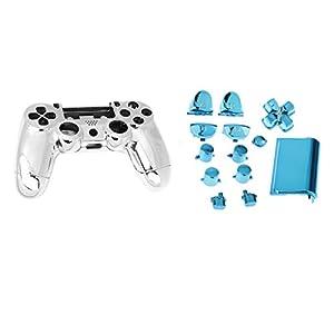 Generic Metall überzogen Vollständige Gehäuse Schale Fall Schaltfläche Bausatz Ersatzteile für PS4 Controller – Blau, one size