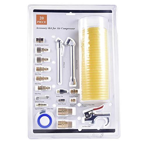 Chirsemey Luftwerkzeug, Luftkompressorschlauch-Werkzeugsatz, 1/4 Zoll NPT-Luftwerkzeugsatz Mit 1/4 Zoll X 25 Ft Nylon-Spiralschlauch/Blaspistole/Reifenlehre -