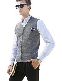 Zicac Herren Weste V-Ausschnitt Silm Fit Strickweste Einfarbig Business Gentleman Pullover Weste