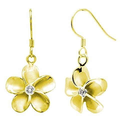 14K Gelb Gold plattiert Stering Silber CZ Plumeria Haken Ohrringe, 12mm