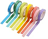 UClever 10 Cintas adhesivas DIY Washi Tape Etiqueta engomada del arco iris 10 colores