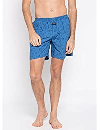 Nick & Jess Mens Sky Blue Space Print Cotton Boxer Shorts