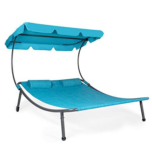 Park Alley Doppelliege, Sonnenliege mit Dach und Kissen, doppel Gartenliege mit Rollen für 2 Personen, Relaxliege für Garten oder Balkon in blau Melange, 202x170x160cm