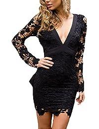 Damen Spitzenkleider Etuikleider Elegant Kurz Langarm V-Ausschnitt Kleider  Bowknot Eng Normallacks Minikleid Rückenfrei Schlank… b986b9ad47