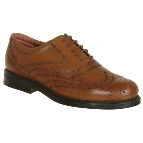 Mens Wide Fit Scimitar Formal Lace Up Brogues Shoes (10, brown)