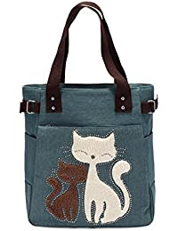 Bolsos Cat Spring (varios colores). Bolso tote con bordado de gato