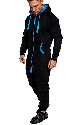 Amaci&Sons Herren Overall Jumpsuit Jogging Onesie Trainingsanzug Camouflage 3004 Schwarz/Türkis M