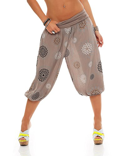 Zarmexx Damen 3/4 Pumphose Capri Pluderhose im Harem-Stil Kurze Sommerhose Yoga Aladinhose Knielang (Einheitsgröße 36/38/40, Cappuccino)