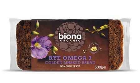 BIONA Bio Roggen Omega 3 Golden Leinsamen Brot 500g -