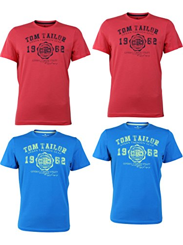 TOM TAILOR Herren Rundhals T-Shirt Logo Tee Basic - 4er Pack, Größe:XL, Farbe:2X Plain Red 2X Danish Blue (Rot T-shirt Logo-herren)