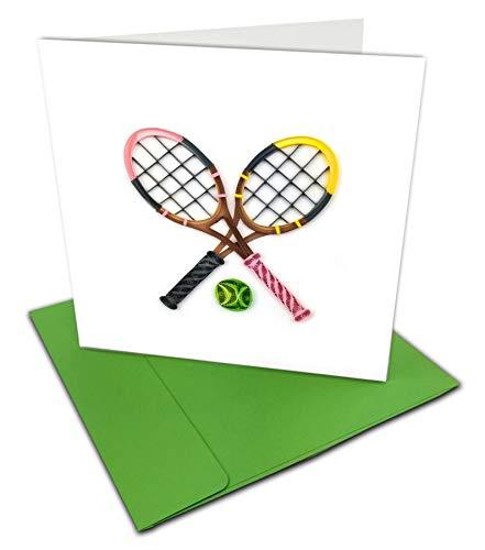 Grußkarte mit Tennisschlägern, 15,2 x 15,2 cm, mit Umschlag Für jeden Anlass. Innen blanko. Handarbeit Geeignet für Rahmen.