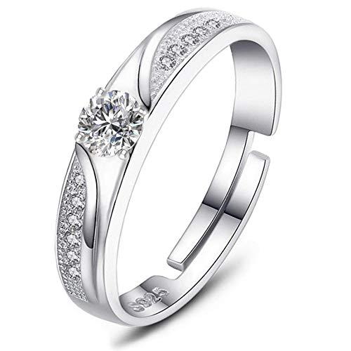 Brilliant jewels anello da donna regolabile in argento sterling 925 | regalo classico ed elegante per una moglie, madre o ragazza | materiali resistenti e pietra zircone | elegante confezione nera