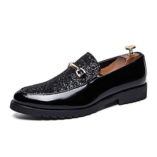 Jingkeke Herren-Oxfords mit Pailletten for Herren mit niedrigem Slip-On-Kleid und Loafer-Schuhen Ins Auge fallend Mode (Farbe : Schwarz, Größe : 42 EU) -