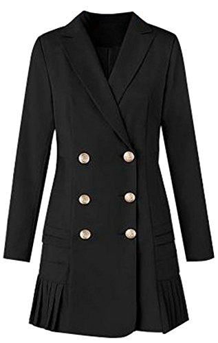 OMUUTR Damen Elegant Trenchcoat Mantel Lange Blazer Jacke Coat Reverskragen Zweireihige Falten hem Langen Ärmeln Business Büro OL lange Overcoat XXXLarge (Falten-shorts Schule, Kleidung)