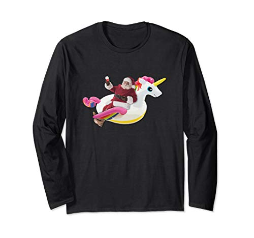 Summer Santa Smoothie & Unicorn Float Funny Christmas Shirt Langarmshirt -