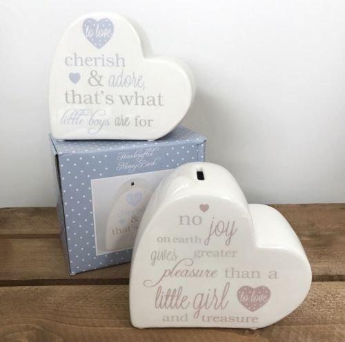 Keramik Herz Gedicht Spardose Sparschwein Babys Gedicht Boy/Girl Taufe Geschenk, blau