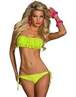 4387 Sexy Bandeau-Bikini mit Fransen vorne am Brustbereich Cup B C