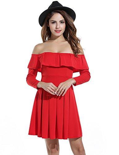 ZEARO Damen Schulterfreie Kleider Volant Kragen Abendkleider Partykleider Club Minikleid Cocktailkleid A-Linie Langarm Gr. S-XXL Rot