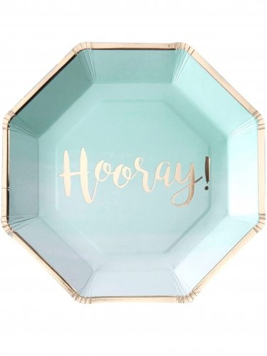(Pick and Mix - Mint & Gold Foiled Hooray Paper Plates)