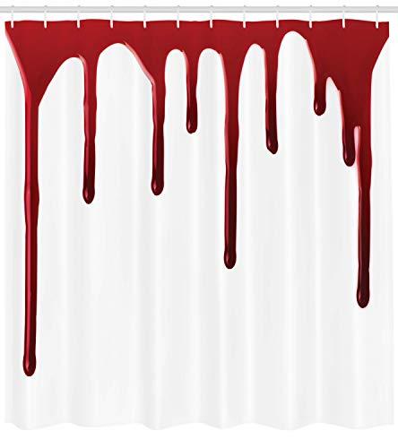 ABAKUHAUS Blutig Duschvorhang, Halloween-Zombie-Verbrechen, mit 12 Ringe Set Wasserdicht Stielvoll Modern Farbfest und Schimmel Resistent, 175x180 cm, Weiß Rot