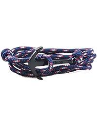 yiran® Noir Plaqué Or crochet POISSON Marin Ancre fermoir Bracelet Coloré sur cordes en nylon pour homme, femme et les amateurs