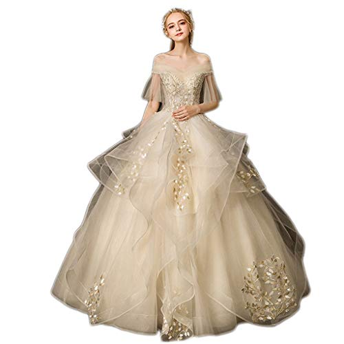 Vestido De Noiva Appliques Spitze Blumen Prinzessin Brautkleider 2019 Schatzausschnitt Royal Train Ballkleid Brautkleid (Größe : XL)