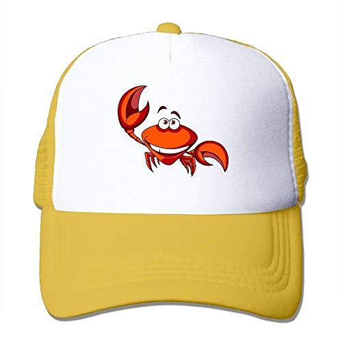 Hoswee Unisex Kappe/Baseballkappe, Happy Smiling Red Cartoon Marine Crab Men&Women Mesh Back Trucker Cap Air Mesh Polyester Cap -