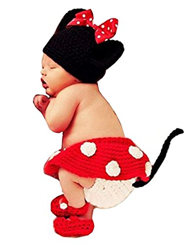BabyMoon Decut Baby Minni Mouse Hat, Skirt, Shorts and Booties Crochet Clothing Swash, (Rose Red)