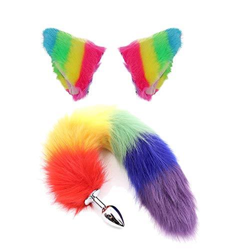 rgfhtyrgyh Regenbogen pelzigen Katzenfuchs Ohr Haarspangen und Pl-ùg Kit Kitty Stirnband Haarschmuck (Regenbogen Kitty Kostüm)
