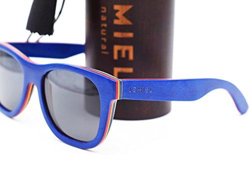 LEMIEL® Xander - DIE ÖKO HOLZBRILLE - Exklusive polarisierte Sonnenbrille aus Holz für Damen und Herren - Nachhaltig - mit Bambus Etui - Männer & Frauen - UV 400-1 Artikel = 1 Baum. (Skater Blue)