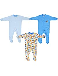 Baby Grow Boy's Mini Berry Long Sleeve Cotton Sleep Suit Romper Set Of 3 ( Blue,9-12 months)