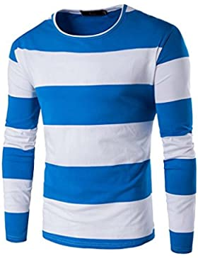 Hombre Camiseta De Manga Larga Cuello Redondo Camisa De Rayas Casual Slim Azul 2XL