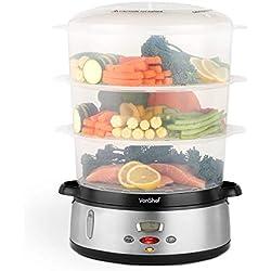 VonShef Cuiseur à vapeur 3 étages 800 W - Cuiseur à vapeur électrique à affichage numérique - Plastique sans BPA - Bol à riz inclus - Pour cuisson saine des viandes, poissons et légumes