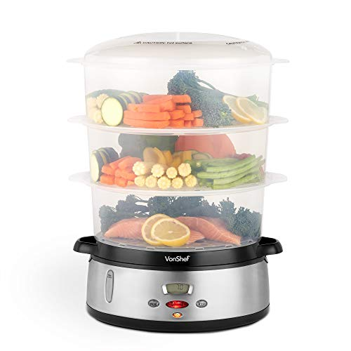 VonShef Vaporera Digital 800W de 3 niveles - Cocina de vapor eléctrica para pescado, carne y verduras saludables - Incluye tazón de arroz libre de BPA