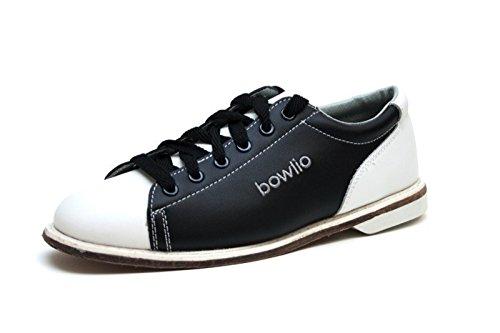 Bowlio Bowlingschuhe Classic - Aus Leder mit Ledersohle, Größe:43, Farbe:Schwarz/Weiss