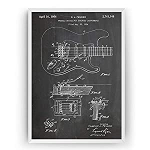 Electric Guitar Stratocaster 1954 Patent Poster – Giclee Print Art Kunst Wall Dekor Decor Entwurf Wandkunst Blueprint Geschenk Gift – Frame Not Included