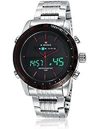 GuTe Hombres Correa De Acero Inoxidable Plateado Militar Digital LED cuarzo deportes reloj de pulsera Rojo